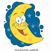 Ilustraciones De Vectores Creciente Luna Encima Azul