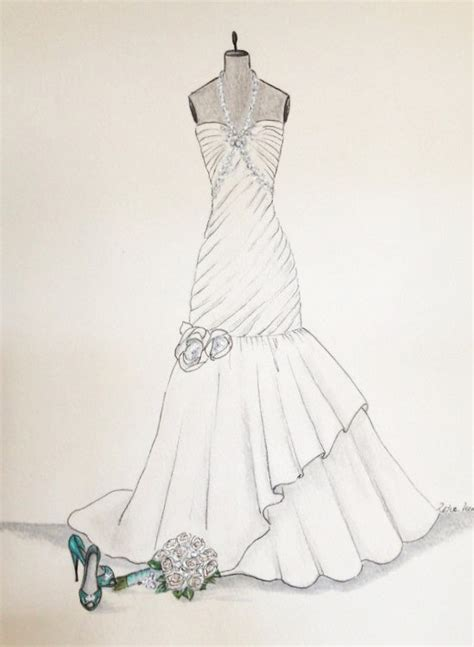 Brautkleider Zeichnen by Hochzeits Kleid Skizze Brautstrau 223 Kleid Und Schuhe Papier