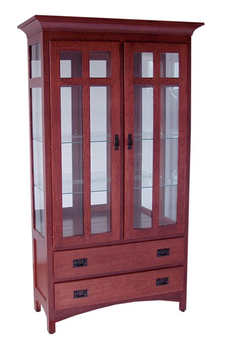 Curio Cabinet With Drawers by 2 Drawer Mission Curio