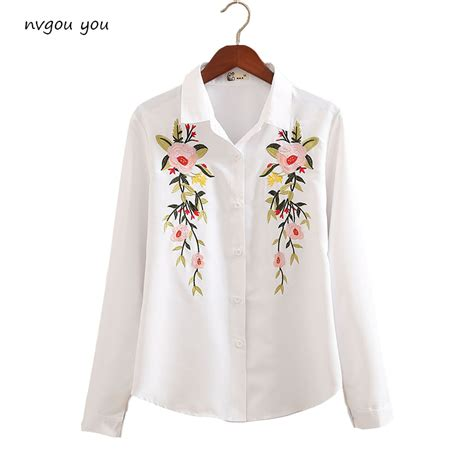 Floral Embroidered Shirts White nvyou gou floral embroidered blouse shirt slim white