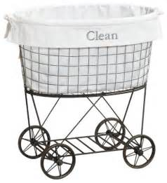 Ideas Design For Laundry Baskets On Wheels Rolling Wire Her Liner Traditional Hers By Pottery Barn