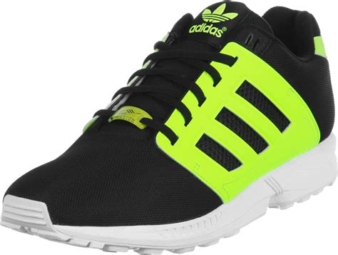 adidas zx flux  shoes black neon yellow