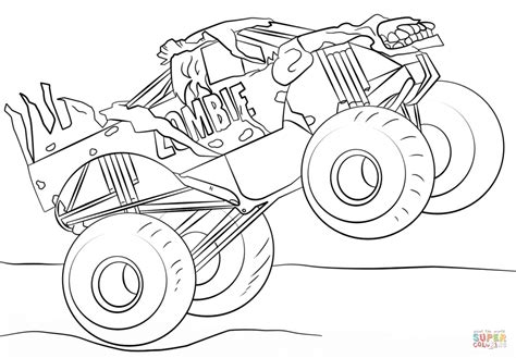 coloring pages of monster jam get this jam zombie monster truck coloring page 09271