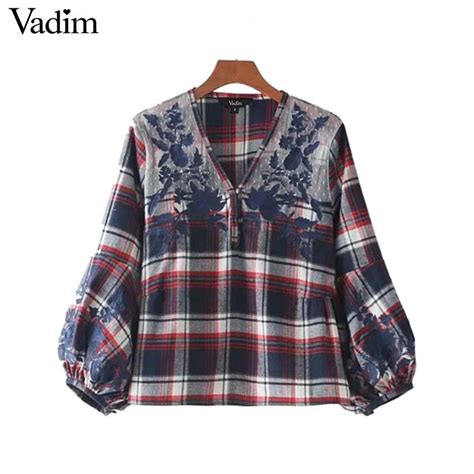 Sleeve Top Combi Plaid Lace vadim lace patchwork v neck plaid shirts floral embroidery lantern sleeve vintage blouse casual