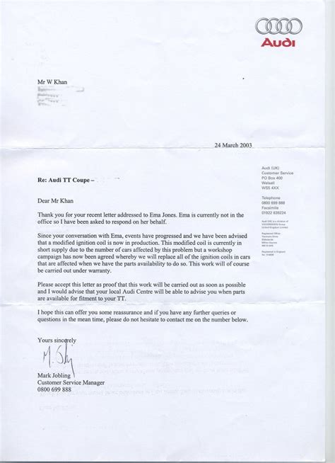 Volkswagen Customer Letter Waks Wide Web