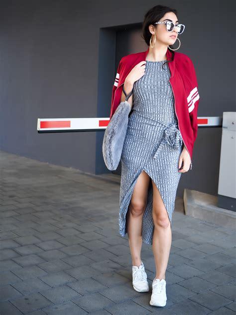 imagenes retro midi bodycon midi dress bomberjacket fashionblog berlin