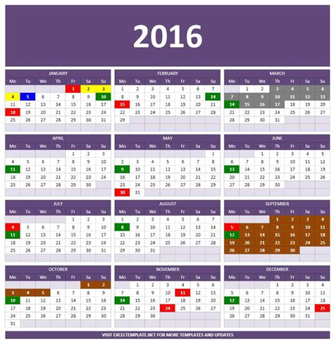 annual calendar template excel 2016 calendars excel templates
