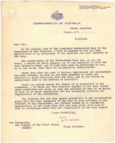 Commitment Letter Northern Territory Wwii And Australia Northern Territory State Records Nsw