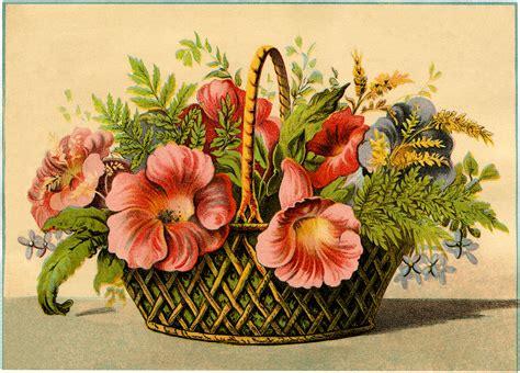 Flower Basket by Vintage Flower Basket Image The Graphics