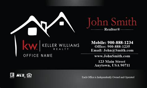 free keller williams business card templates keller williams business card custom black design 103211
