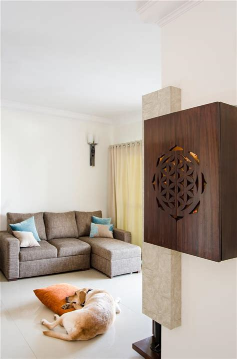 Puja Room Designs style on a budget pooja unit living room by poonam