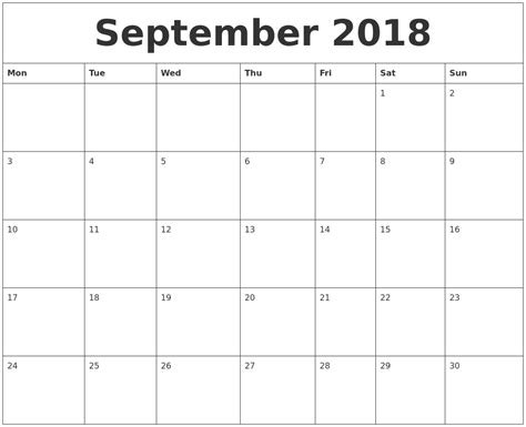 2018 Monthly Calendar Printable September 2018 Free Printable Monthly Calendar