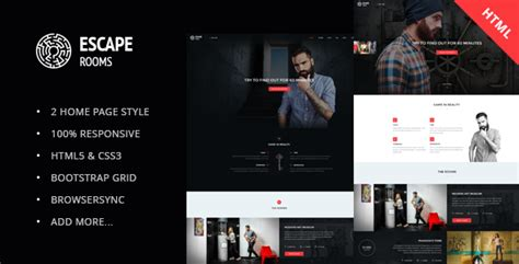 Escape Room Html Template By Skrylnik Themeforest Escape Room Website Template