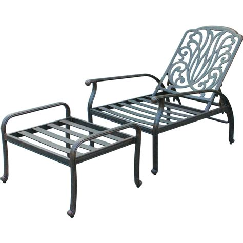 Reclining Patio Chairs Darlee Elisabeth Cast Aluminum Patio Reclining Club Chair And Ottoman Shopperschoice