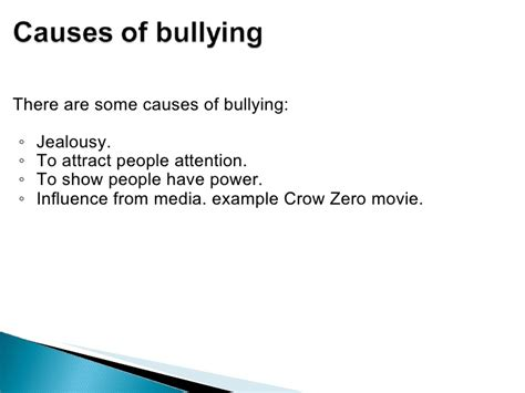 Bullying Causes by Bullying In School
