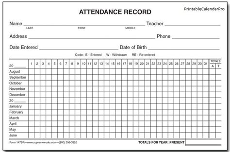 attendance record template the 25 best attendance sheet template ideas on