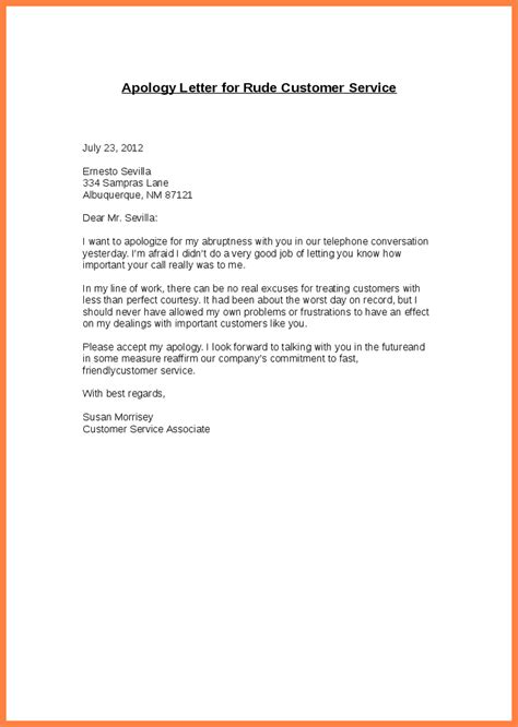 Apology Cover Letter Format Sle Apology Letter For Bad Customer Service Compudocs Us