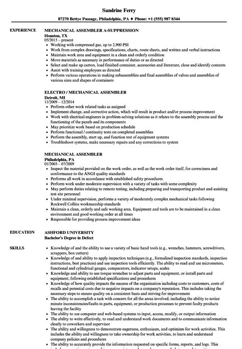 Assembler Resume by Assembly Resume Sle Sanitizeuv Sle Resume