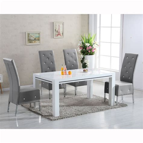 dining table with 6 grey chairs diamante high gloss dining table with 6 asam grey chairs
