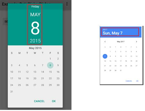 android header layout exle how to set header layout of the datepickerdialog in