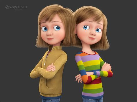 3d tiny girl 3d model cartoon rigged girl