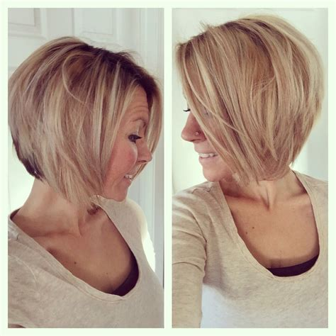 plus size women with angle bob hairstyle short medium angled bob haircut reverse bob blonde