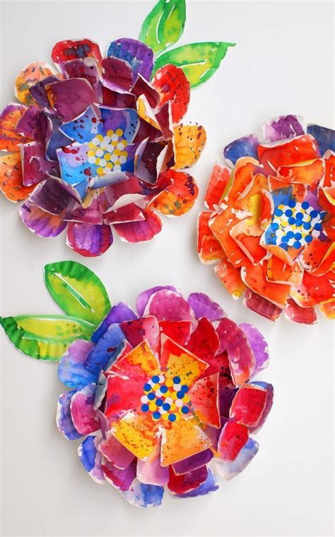 hyper colorful painted paper plate flowers watercolors