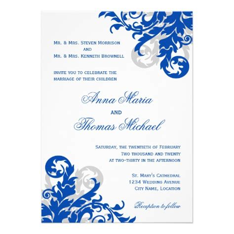 wedding invitations royal blue and silver royal blue and silver flourish wedding invitation 5 quot x 7