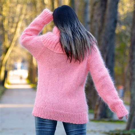 light pink cowl neck sweater woman light pink super hand knitted cowlneck