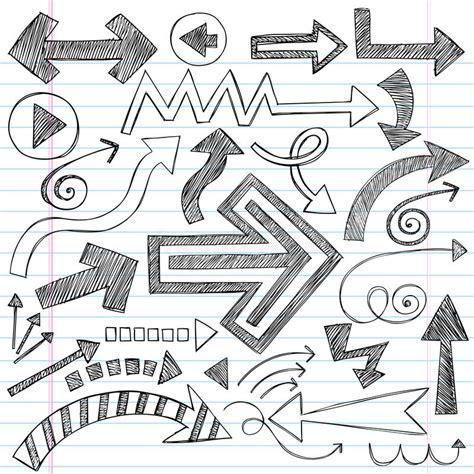 doodle arrows free vector arrows sketchy notebook doodles vector set stock vector