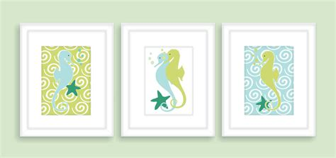 bathroom plaques seahorse bathroom wall decor kids bathroom art print set of