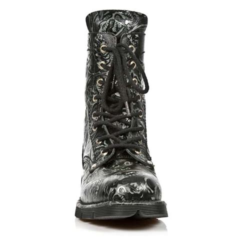 black pattern leather boots black leather w vintage floral pattern new rock combat boots