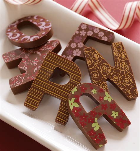 up letter to chocolate patterned milk chocolate letter by choklet
