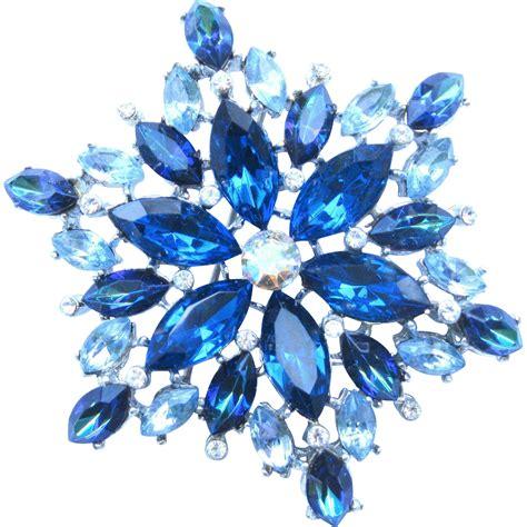 vintage blue rhinestone snowflake brooch sold on ruby