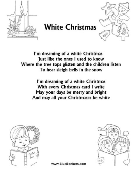 bluebonkers christmas lyrics white carol and song sheet on