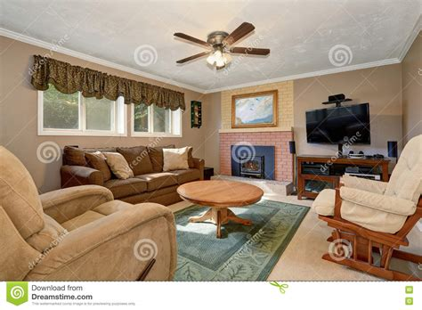 typical room typical american living room with brown and
