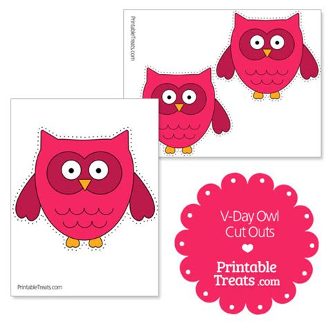 printable owl cut outs printable valentines day cut outs printable treats com