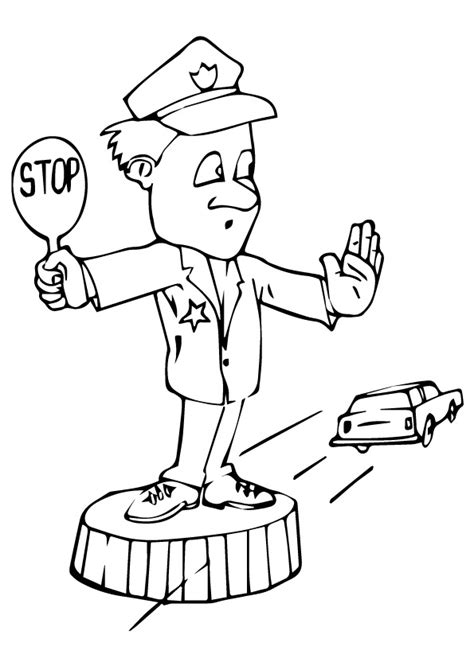 policeman working with hat coloring page education