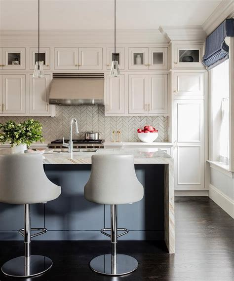 silver metallic herringbone tiles transitional kitchen