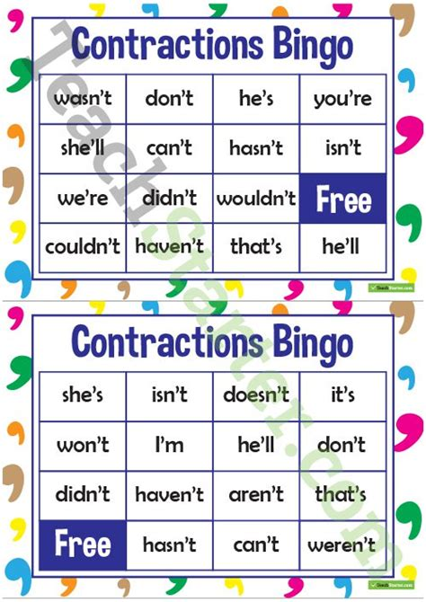 printable contraction games contractions powerpoint teaching resource teach starter