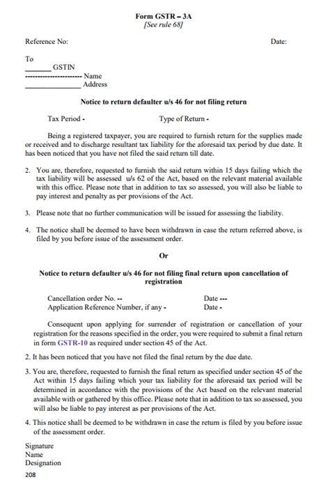 vat registration cancellation letter format gstr 3a notice for not filing gst return indiafilings