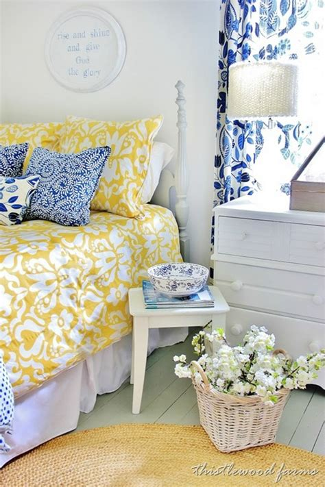 Yellow And Blue Bedroom | blue and yellow farmhouse bedroom thistlewood farm