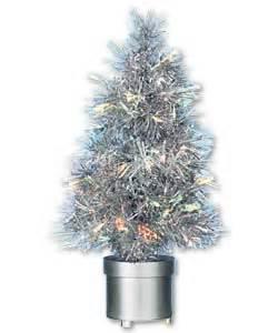 60cm silver tinsel revolving fibre optic christmas tree