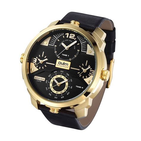 Jam Tangan Battalion Black Gold oulm jam tangan analog hp3749 black gold