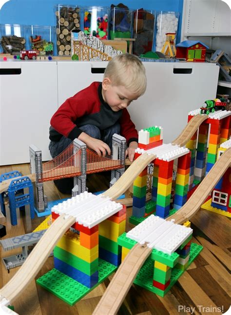 creative building play  duplo  wooden train tracks