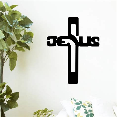 christian jesus cross diy home decor vinyl wall sticker