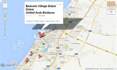 UAE Dubai Metro City Streets Hotels Airport Travel Map Info: Bedouin Village Dubai Location Map