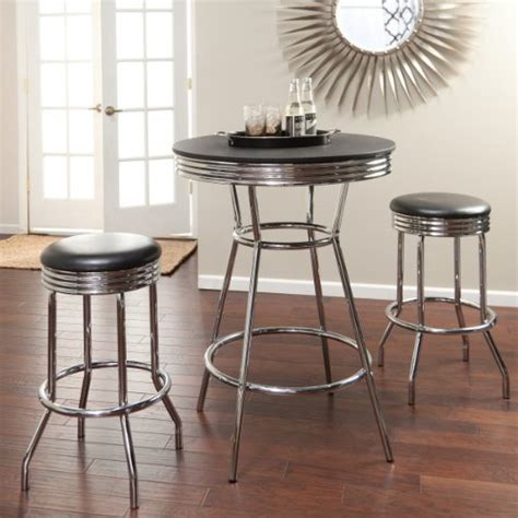 Vintage Bar Table And Stools Where Can You Buy Roundhill Retro Style 3 Chrome Metal Bar Table And Stools Juan L