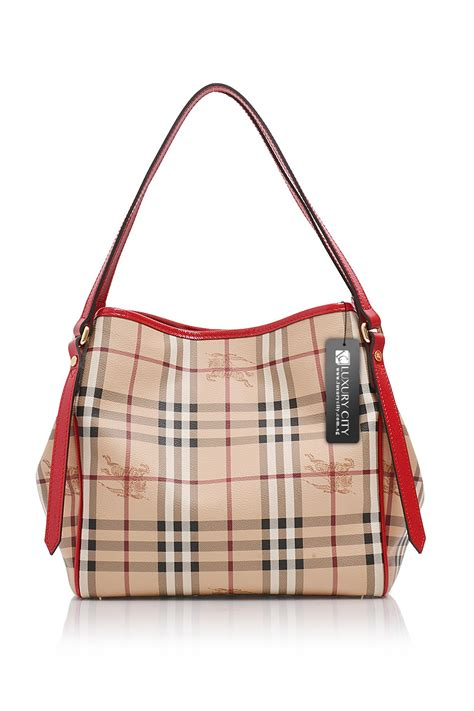 pattern handbag burberry check pattern handbag with red leather trim