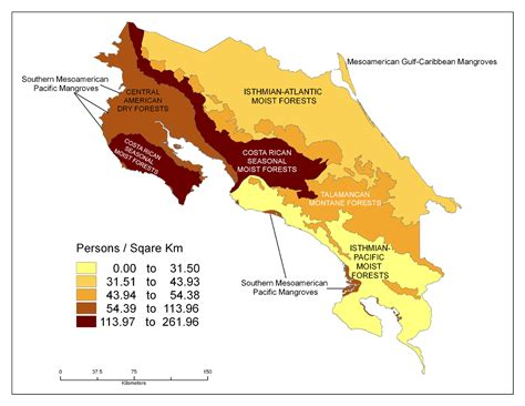 costa rica population density map costa rica population density map map